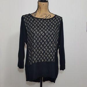 Lucky Brand Geometric Diamond Print Tunic Top